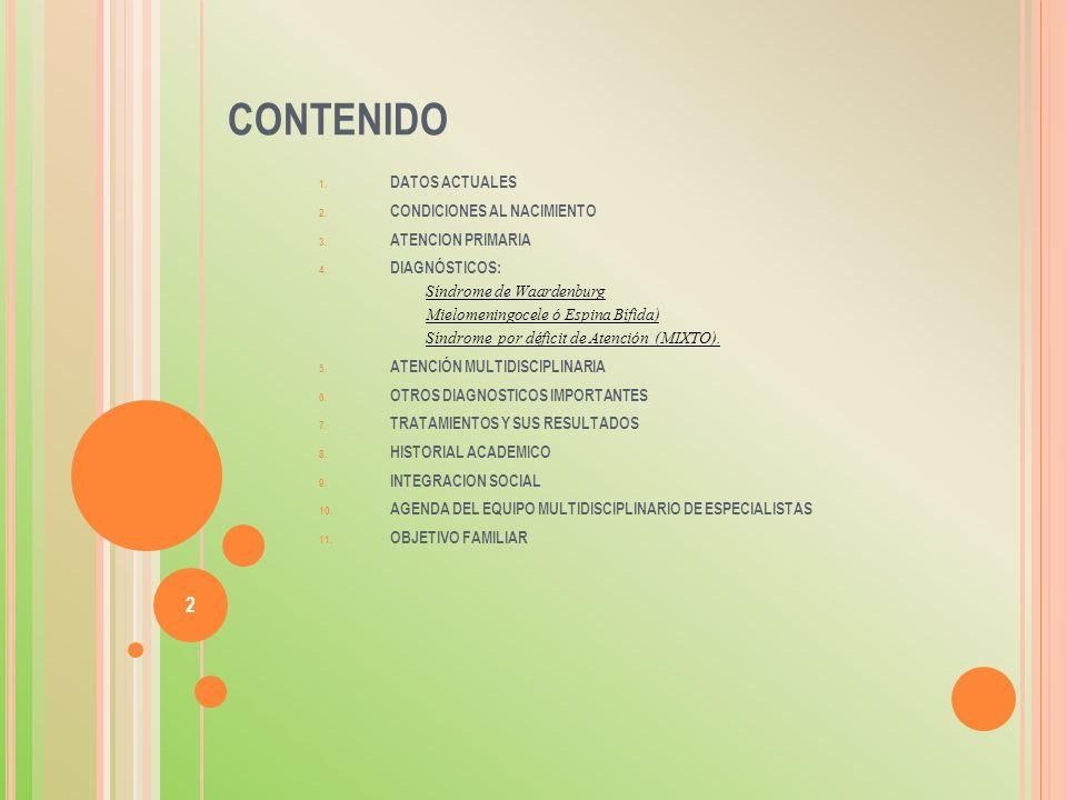 CONTENIDO 1. DATOS ACTUALES 2. CONDICIONES AL NACIMIENTO 3. ATENCION PRIMARIA 4. DIAGNÓSTICOS: Síndrome de Waardenburg Mielomeningocele ó Espina Bífid