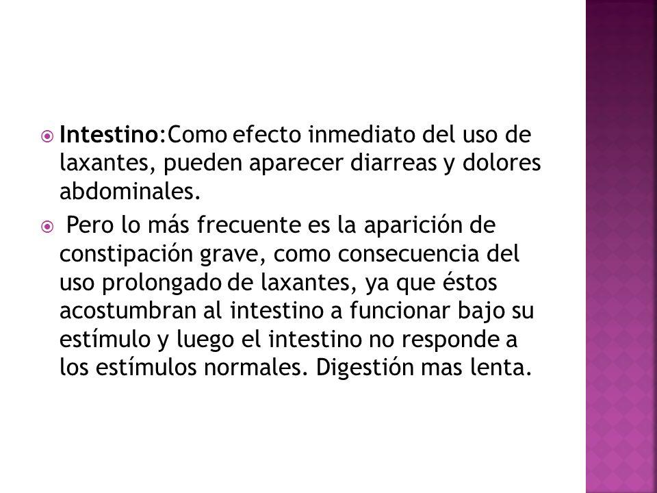 Intestino:Como efecto inmediato del uso de laxantes, pueden aparecer diarreas y dolores abdominales. Pero lo más frecuente es la aparición de constipa