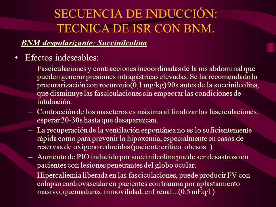 SECUENCIA DE INDUCCIÓN: TECNICA DE ISR CON BNM. Efectos indeseables: –Fasciculaciones y contracciones incoordinadas de la ms abdominal que pueden gene