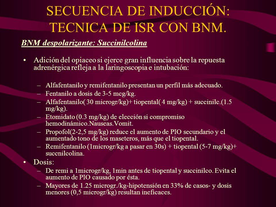 SECUENCIA DE INDUCCIÓN: TECNICA DE ISR CON BNM. Adición del opiaceo si ejerce gran influencia sobre la repuesta adrenérgica refleja a la laringoscopia