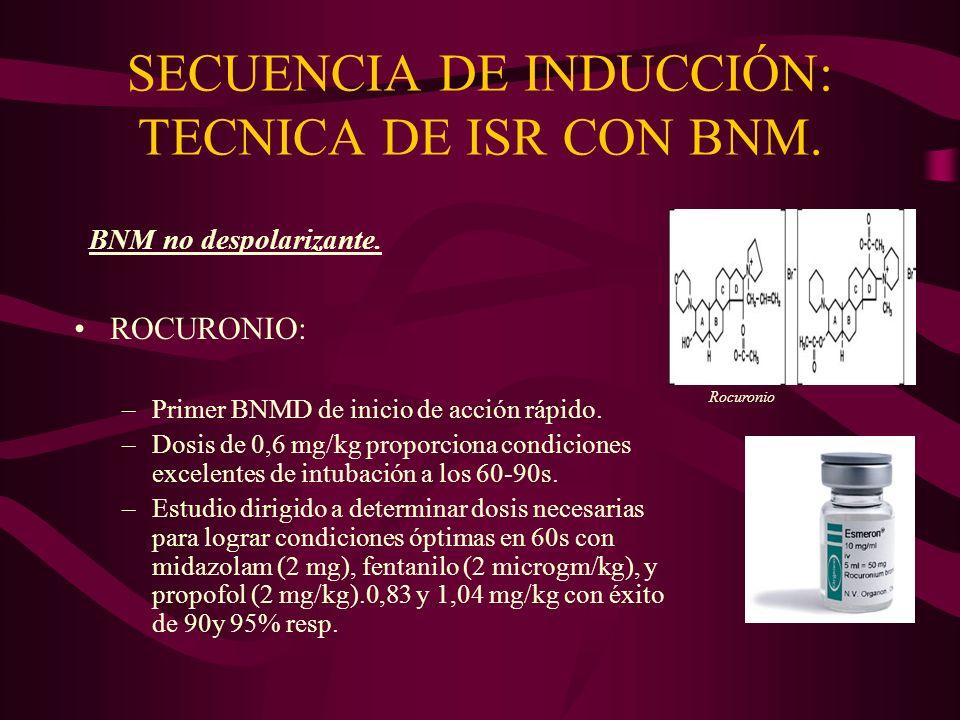 ROCURONIO: –Primer BNMD de inicio de acción rápido. –Dosis de 0,6 mg/kg proporciona condiciones excelentes de intubación a los 60-90s. –Estudio dirigi