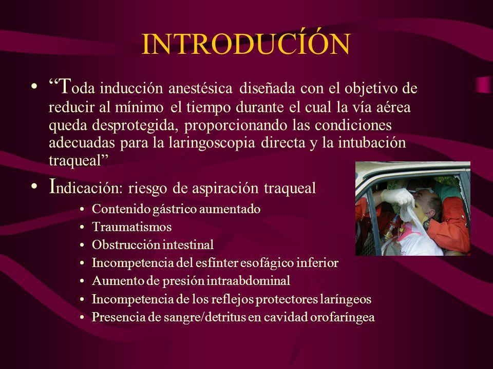 INTRODUCÍÓN T oda inducción anestésica diseñada con el objetivo de reducir al mínimo el tiempo durante el cual la vía aérea queda desprotegida, propor