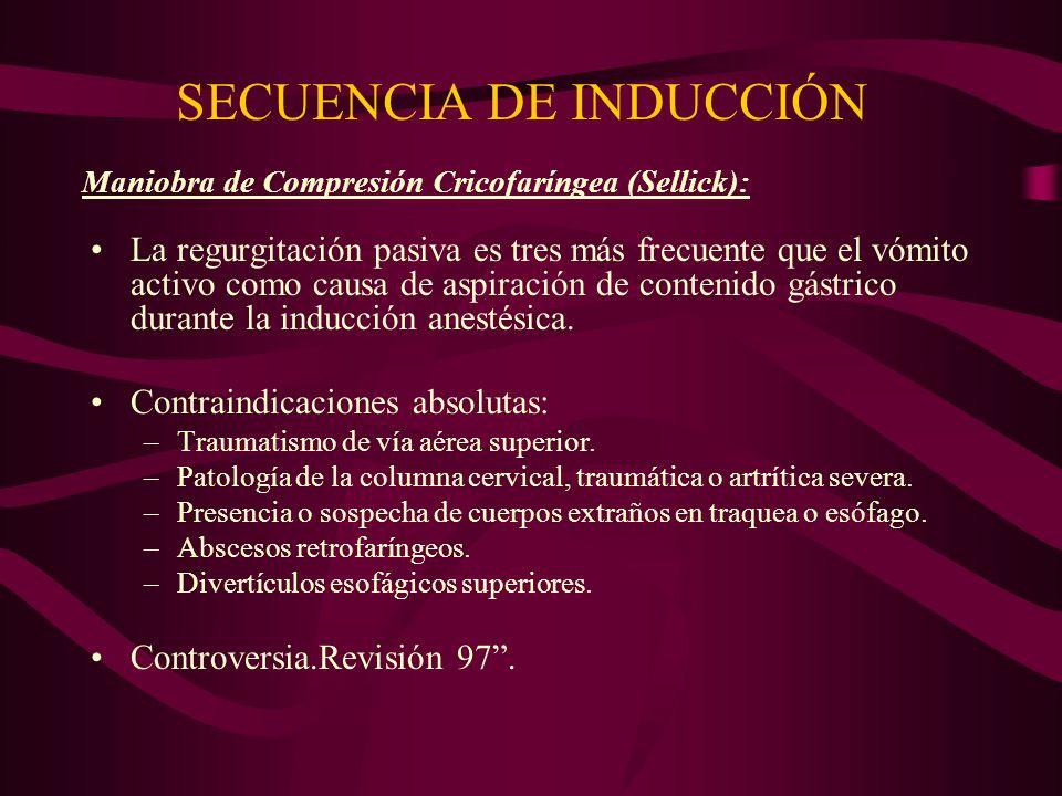 SECUENCIA DE INDUCCIÓN La regurgitación pasiva es tres más frecuente que el vómito activo como causa de aspiración de contenido gástrico durante la in