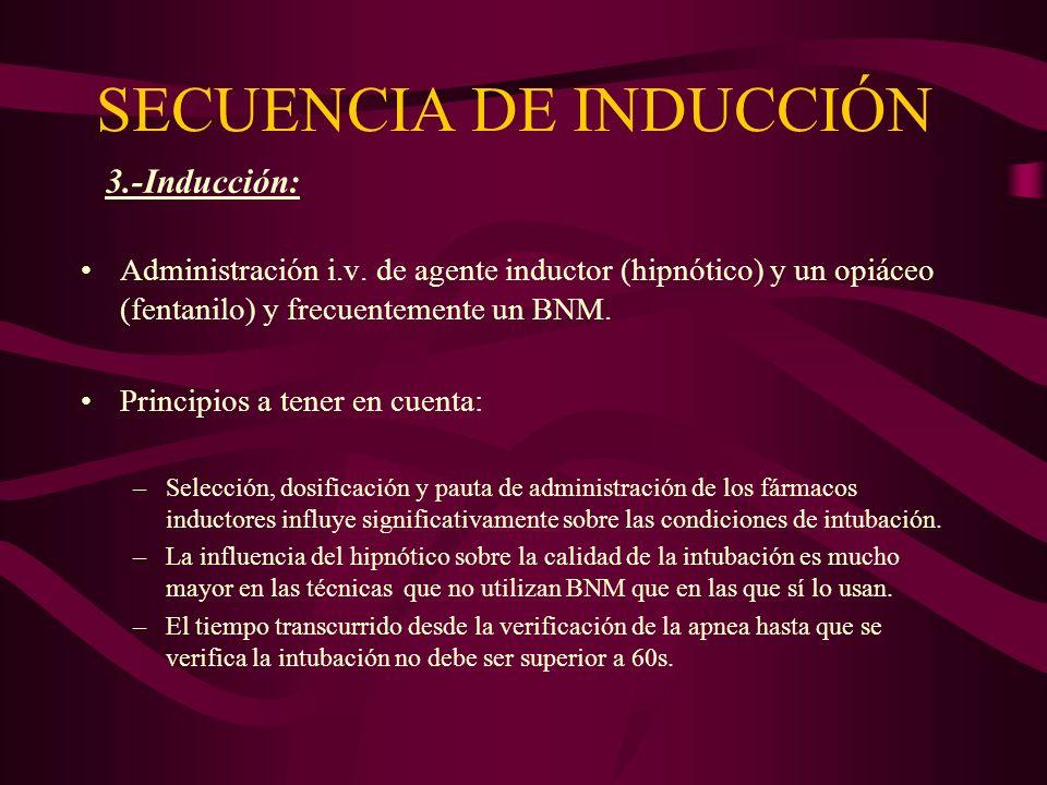 SECUENCIA DE INDUCCIÓN Administración i.v. de agente inductor (hipnótico) y un opiáceo (fentanilo) y frecuentemente un BNM. Principios a tener en cuen