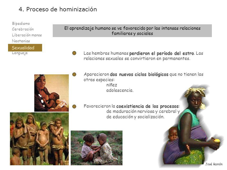 Bipedismo Cerebración Liberación manos Neotenias Sexualidad Lenguaje 4. Proceso de hominización Sexualidad José Ramón El aprendizaje humano se ve favo