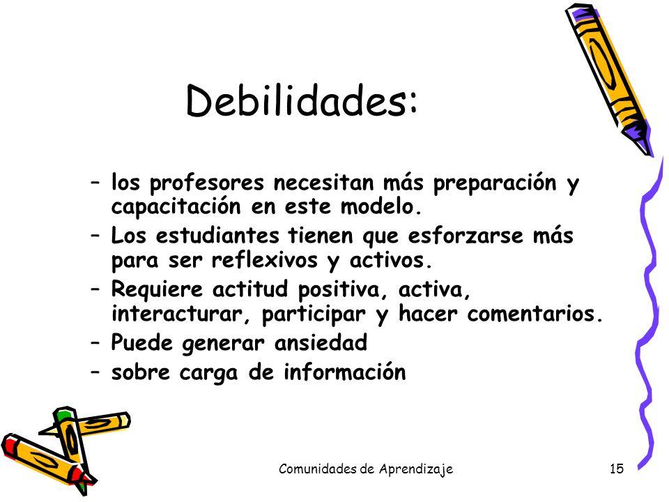 Comunidades de Aprendizaje15 Debilidades: –los profesores necesitan más preparación y capacitación en este modelo. –Los estudiantes tienen que esforza