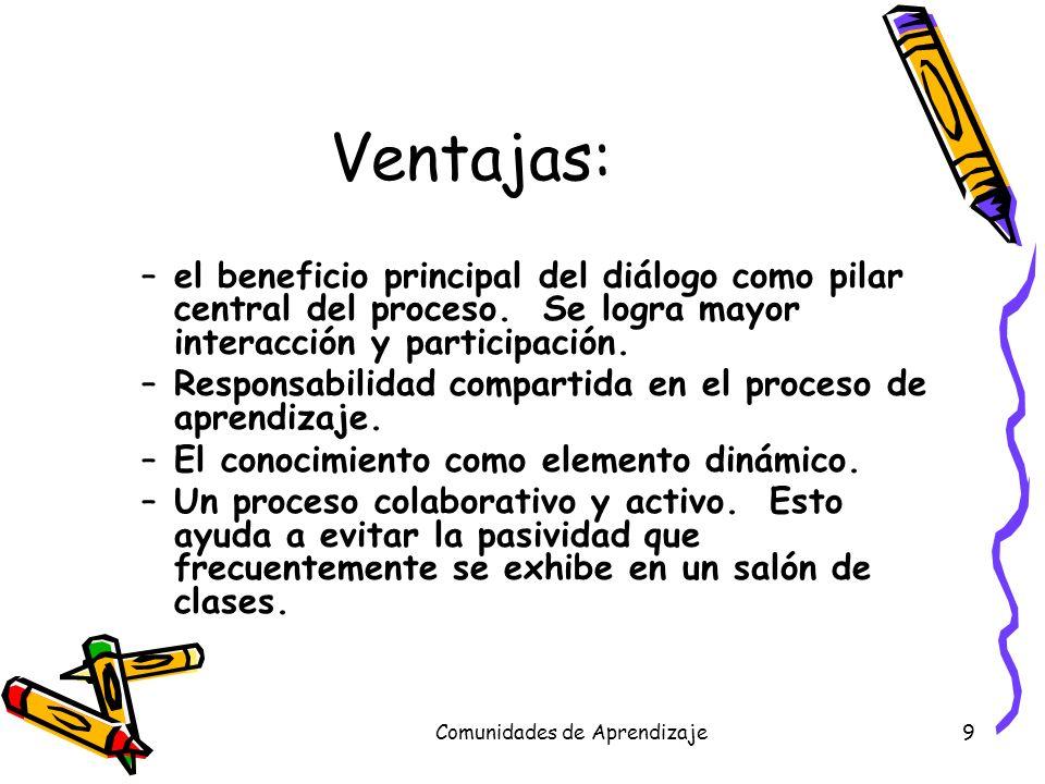 Comunidades de Aprendizaje9 Ventajas: –el beneficio principal del diálogo como pilar central del proceso. Se logra mayor interacción y participación.