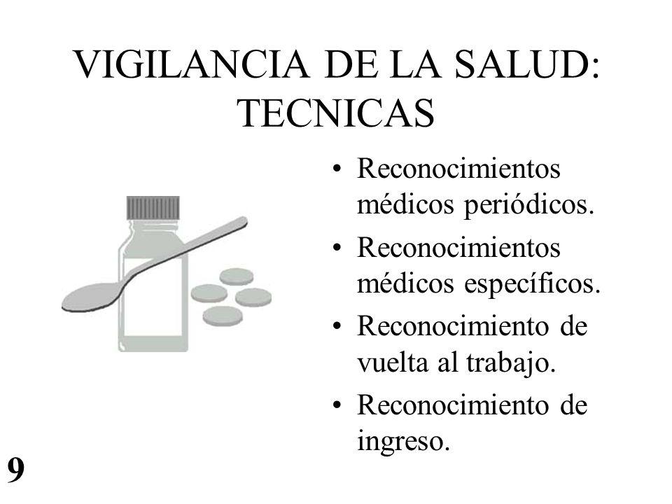 VIGILANCIA DE LA SALUD: TECNICAS Reconocimientos médicos periódicos. Reconocimientos médicos específicos. Reconocimiento de vuelta al trabajo. Reconoc