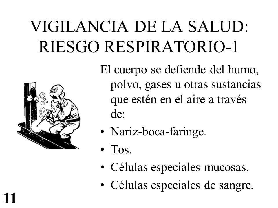 VIGILANCIA DE LA SALUD: RIESGO RESPIRATORIO-1 El cuerpo se defiende del humo, polvo, gases u otras sustancias que estén en el aire a través de: Nariz-