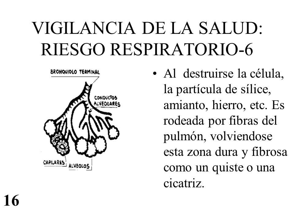 VIGILANCIA DE LA SALUD: RIESGO RESPIRATORIO-6 Al destruirse la célula, la partícula de sílice, amianto, hierro, etc. Es rodeada por fibras del pulmón,