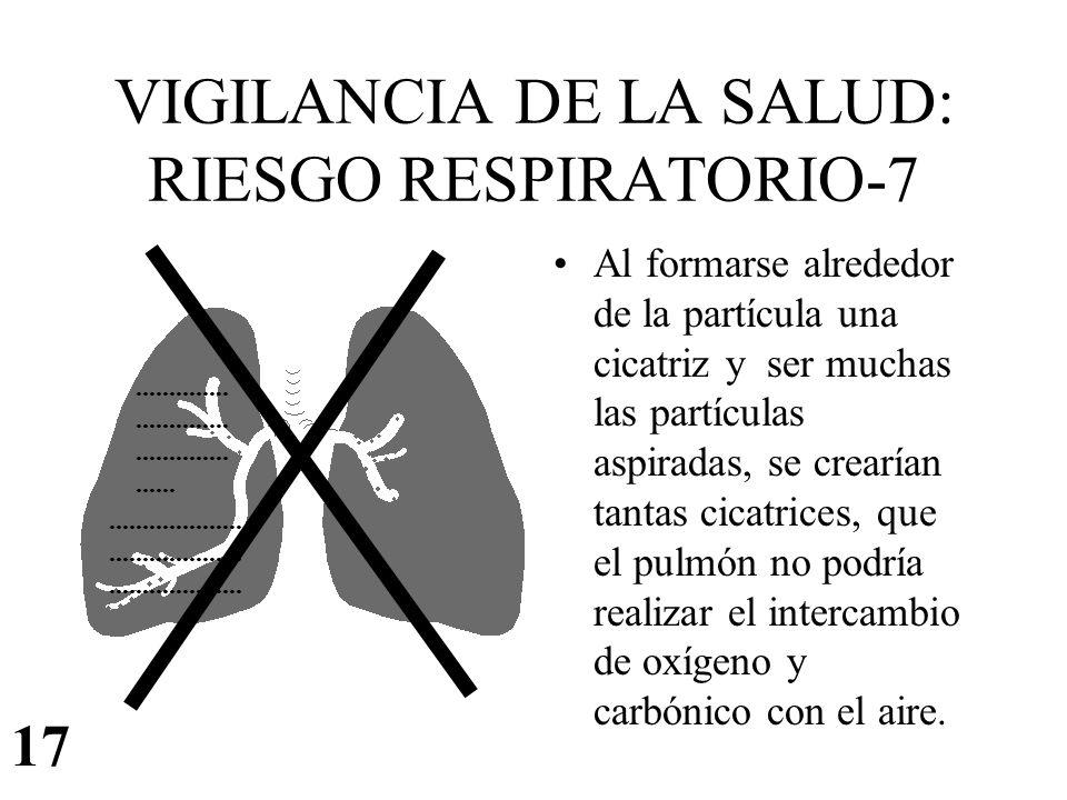 VIGILANCIA DE LA SALUD: RIESGO RESPIRATORIO-7 Al formarse alrededor de la partícula una cicatriz y ser muchas las partículas aspiradas, se crearían ta