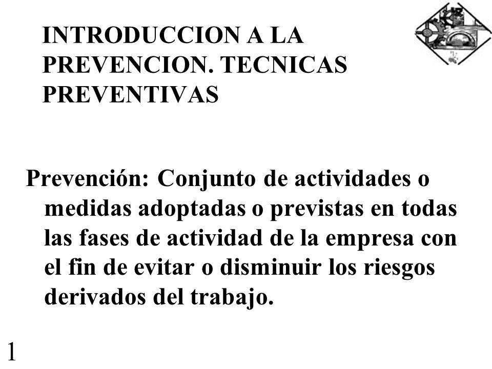 INTRODUCCION A LA PREVENCION. TECNICAS PREVENTIVAS Prevención: Conjunto de actividades o medidas adoptadas o previstas en todas las fases de actividad