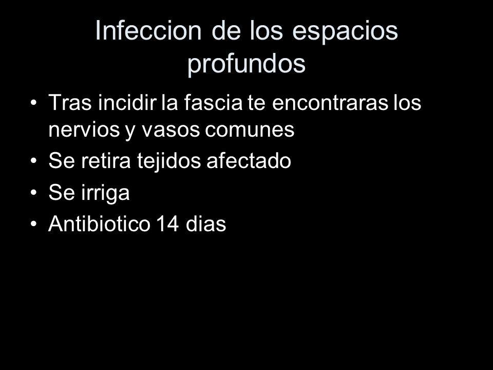 Infeccion de los espacios profundos Tras incidir la fascia te encontraras los nervios y vasos comunes Se retira tejidos afectado Se irriga Antibiotico