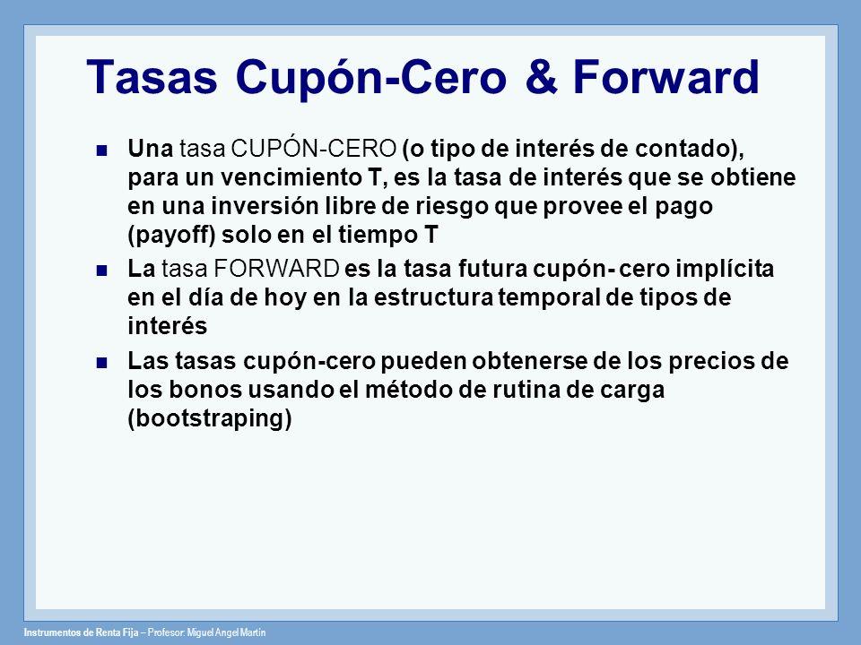 Instrumentos de Renta Fija – Profesor: Miguel Angel Martín Tasas Cupón-Cero & Forward Una tasa CUPÓN-CERO (o tipo de interés de contado), para un venc