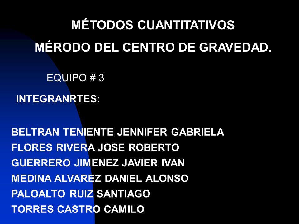 MÉTODOS CUANTITATIVOS MÉRODO DEL CENTRO DE GRAVEDAD. INTEGRANRTES: EQUIPO # 3 BELTRAN TENIENTE JENNIFER GABRIELA FLORES RIVERA JOSE ROBERTO GUERRERO J
