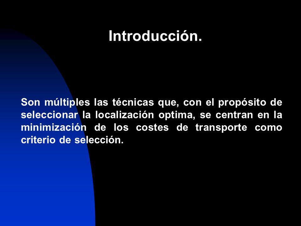 Introducción. Son múltiples las técnicas que, con el propósito de seleccionar la localización optima, se centran en la minimización de los costes de t