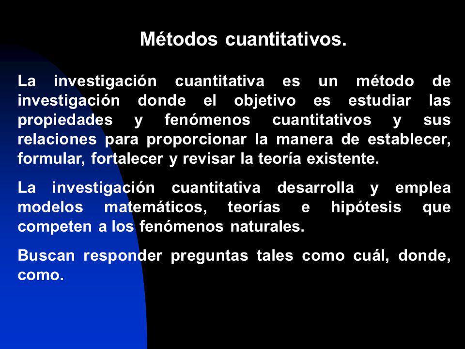 Métodos cuantitativos. La investigación cuantitativa es un método de investigación donde el objetivo es estudiar las propiedades y fenómenos cuantitat