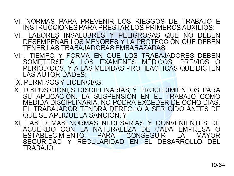 VI. NORMAS PARA PREVENIR LOS RIESGOS DE TRABAJO E INSTRUCCIONES PARA PRESTAR LOS PRIMEROS AUXILIOS; VII. LABORES INSALUBRES Y PELIGROSAS QUE NO DEBEN