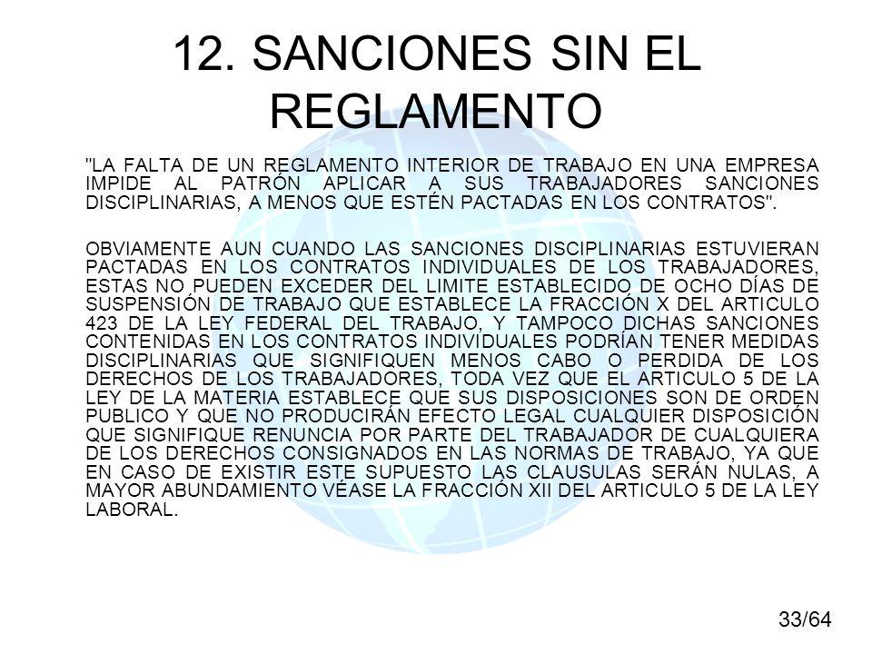 12. SANCIONES SIN EL REGLAMENTO
