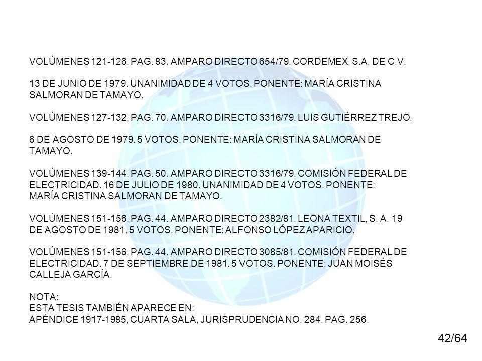 VOLÚMENES 121-126. PAG. 83. AMPARO DIRECTO 654/79. CORDEMEX, S.A. DE C.V. 13 DE JUNIO DE 1979. UNANIMIDAD DE 4 VOTOS. PONENTE: MARÍA CRISTINA SALMORAN