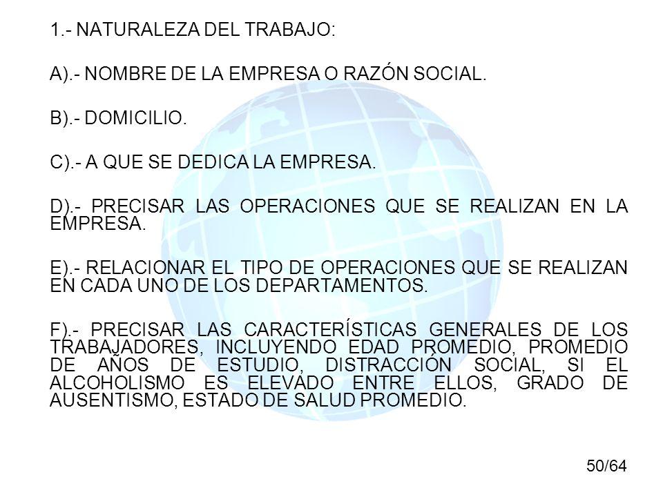 1.- NATURALEZA DEL TRABAJO: A).- NOMBRE DE LA EMPRESA O RAZÓN SOCIAL. B).- DOMICILIO. C).- A QUE SE DEDICA LA EMPRESA. D).- PRECISAR LAS OPERACIONES Q