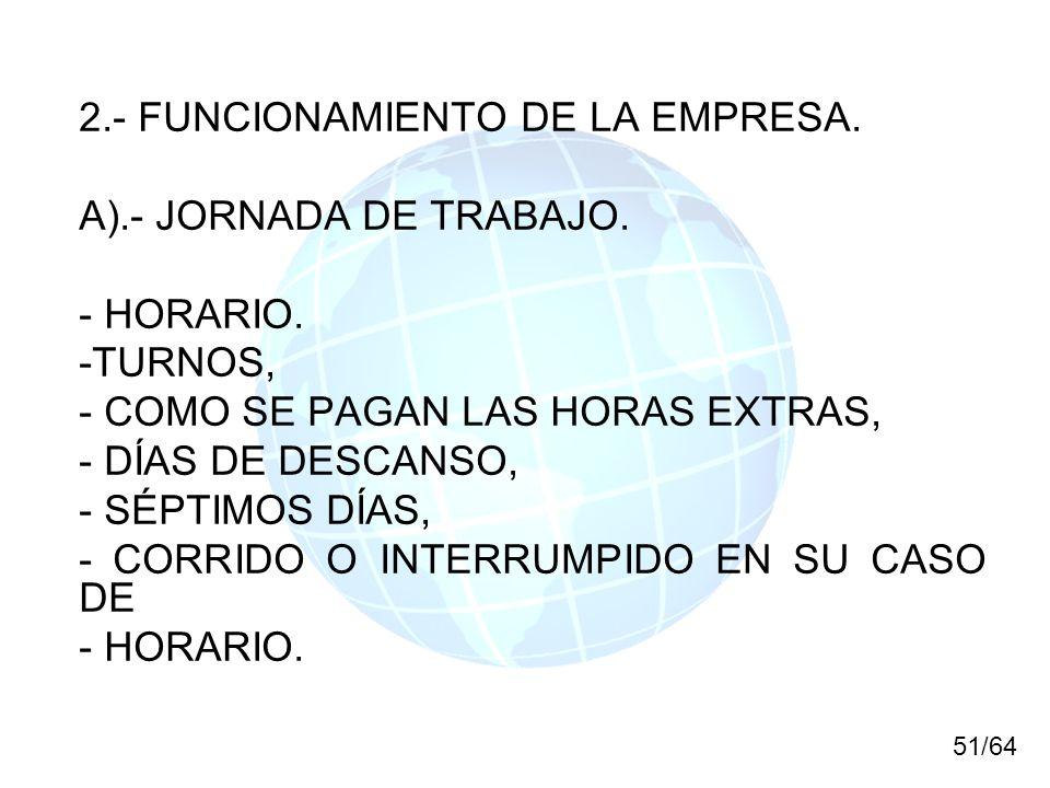 2.- FUNCIONAMIENTO DE LA EMPRESA. A).- JORNADA DE TRABAJO. - HORARIO. -TURNOS, - COMO SE PAGAN LAS HORAS EXTRAS, - DÍAS DE DESCANSO, - SÉPTIMOS DÍAS,