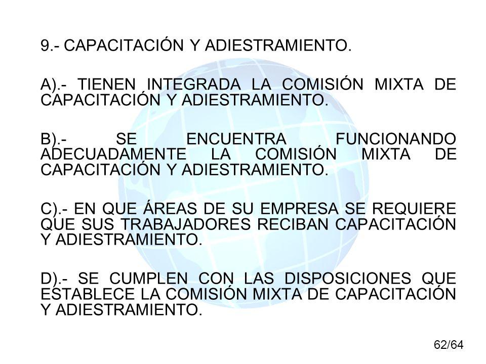 9.- CAPACITACIÓN Y ADIESTRAMIENTO. A).- TIENEN INTEGRADA LA COMISIÓN MIXTA DE CAPACITACIÓN Y ADIESTRAMIENTO. B).- SE ENCUENTRA FUNCIONANDO ADECUADAMEN
