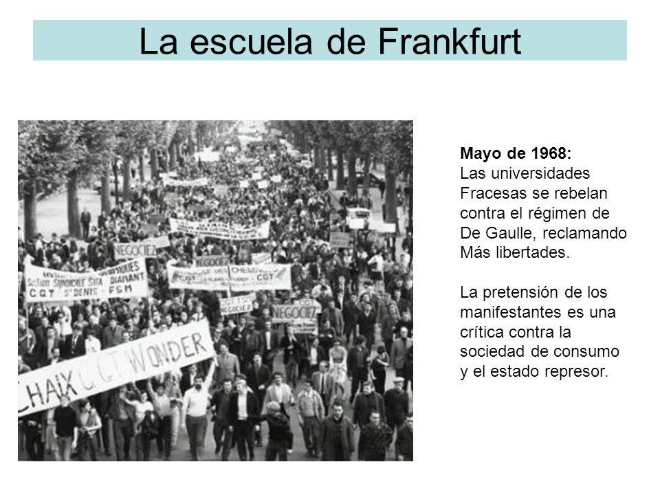 La escuela de Frankfurt Mayo de 1968: Las universidades Fracesas se rebelan contra el régimen de De Gaulle, reclamando Más libertades. La pretensión d