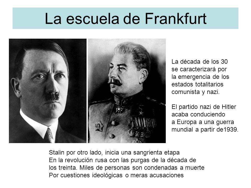 La escuela de Frankfurt La década de los 30 se caracterizará por la emergencia de los estados totalitarios comunista y nazi. El partido nazi de Hitler