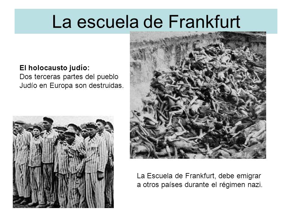 La escuela de Frankfurt El holocausto judío: Dos terceras partes del pueblo Judío en Europa son destruidas. La Escuela de Frankfurt, debe emigrar a ot