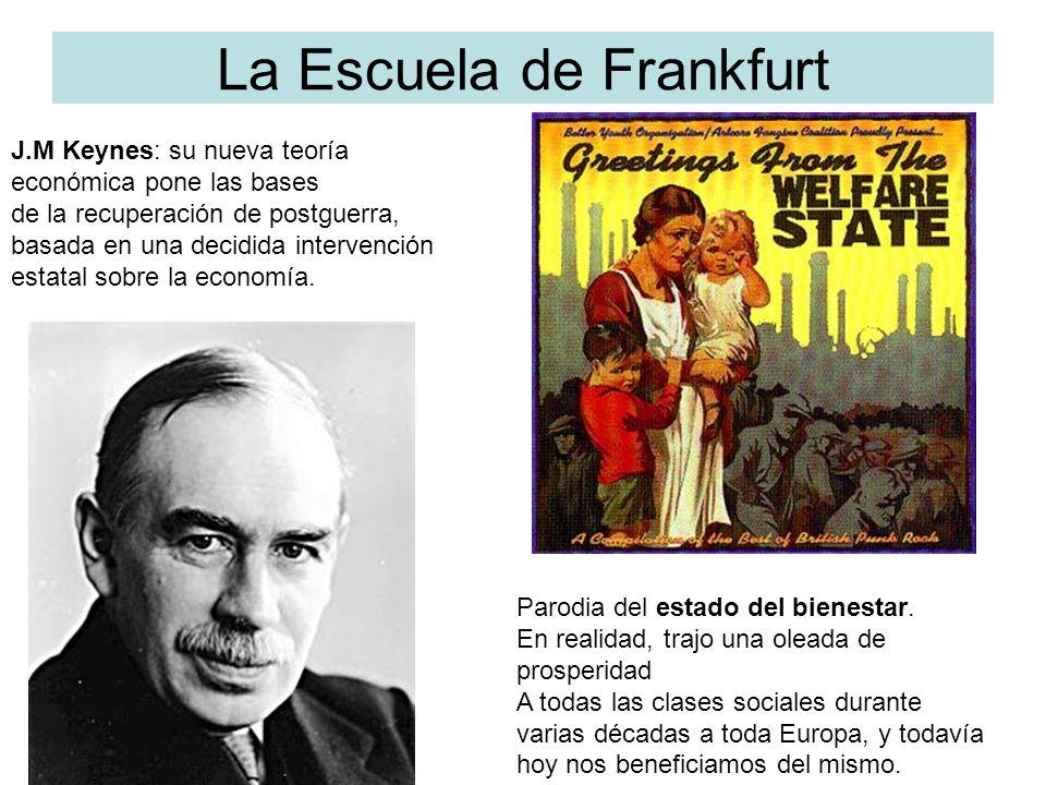 La Escuela de Frankfurt J.M Keynes: su nueva teoría económica pone las bases de la recuperación de postguerra, basada en una decidida intervención est