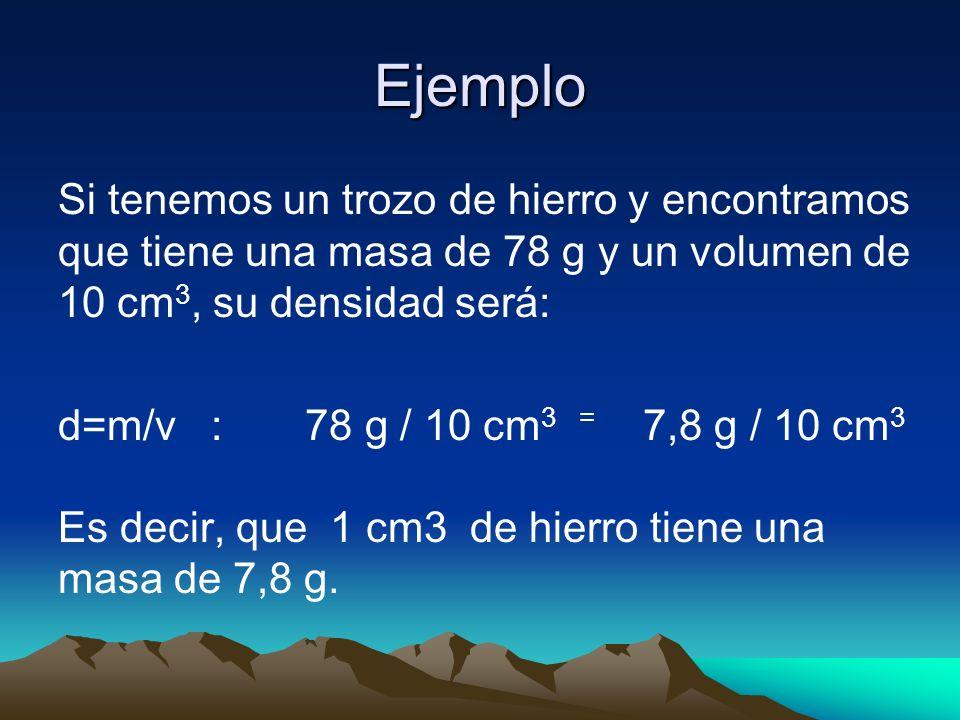 Ejemplo Si tenemos un trozo de hierro y encontramos que tiene una masa de 78 g y un volumen de 10 cm 3, su densidad será: d=m/v : 78 g / 10 cm 3 = 7,8