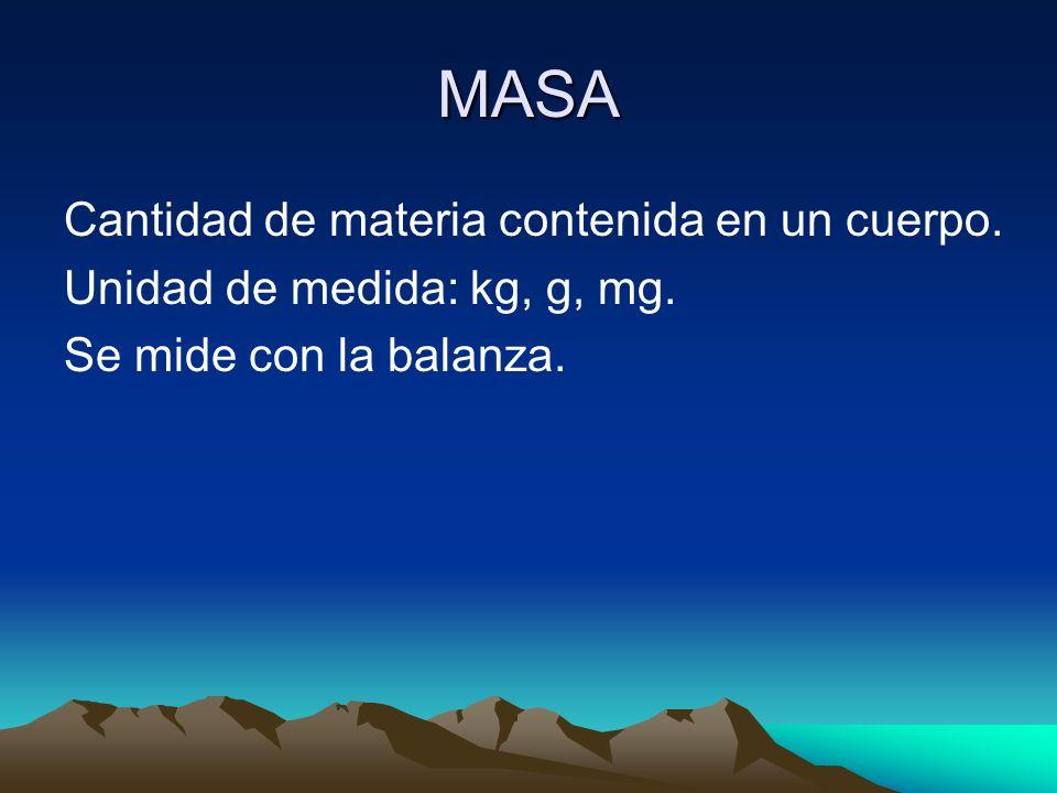 MASA Cantidad de materia contenida en un cuerpo. Unidad de medida: kg, g, mg. Se mide con la balanza.