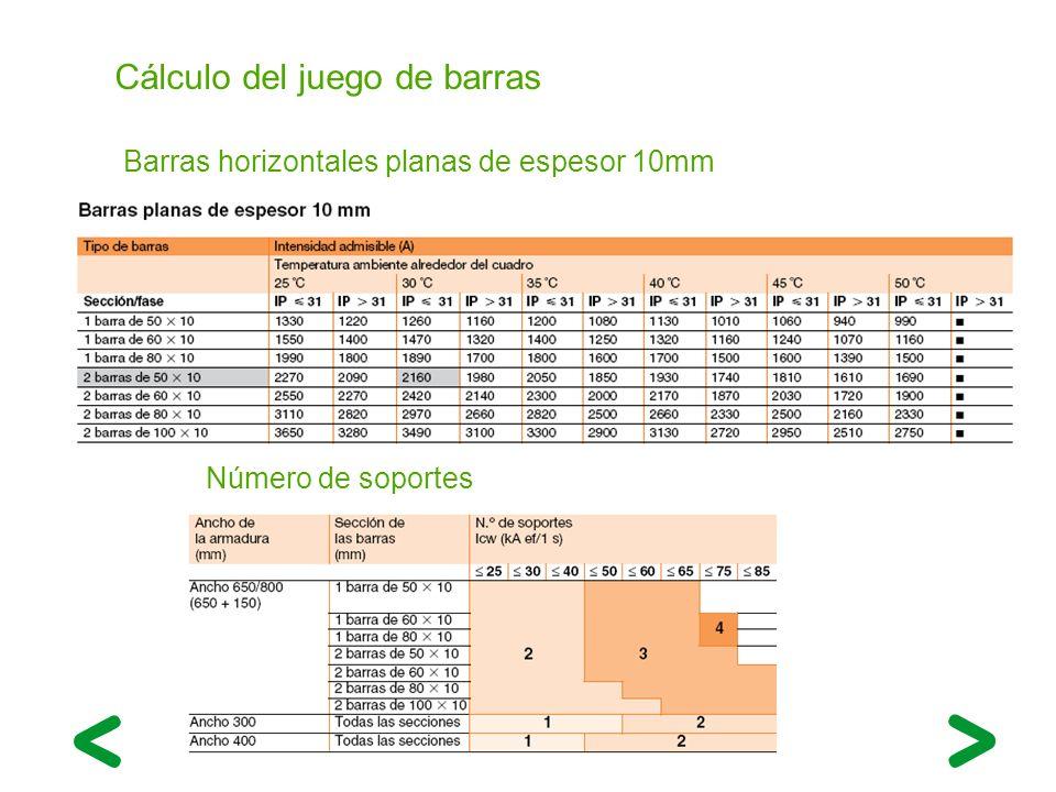 Cálculo del juego de barras Barras horizontales planas de espesor 10mm Número de soportes