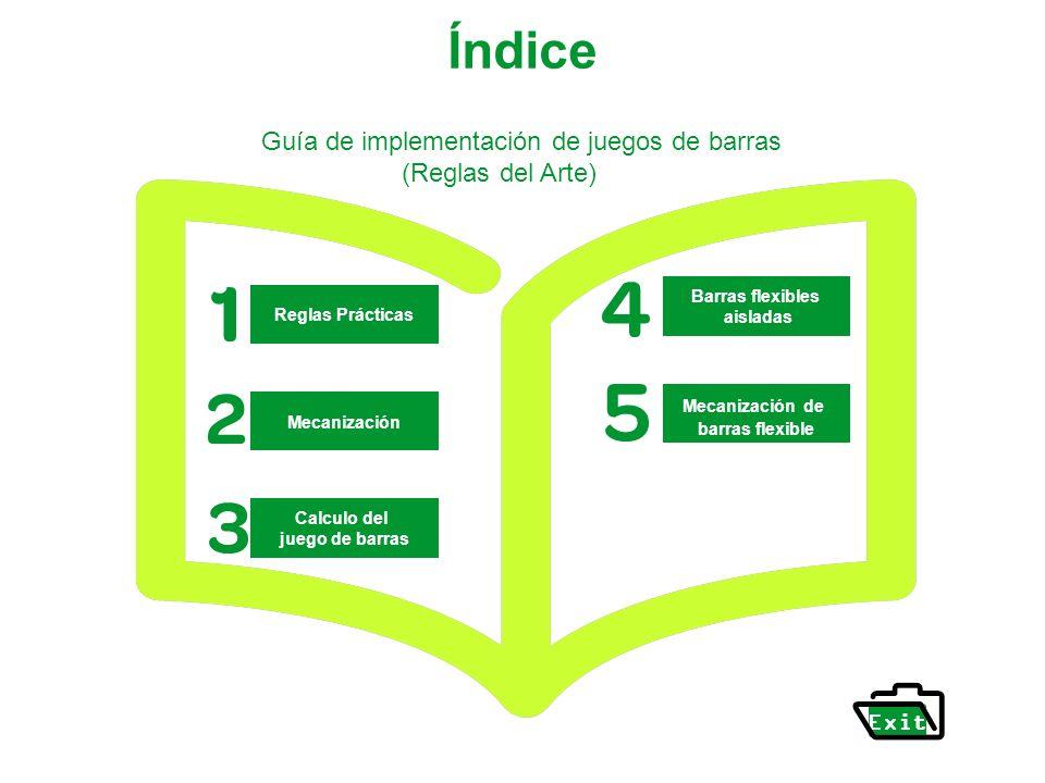 Índice Reglas Prácticas Mecanización Calculo del juego de barras Guía de implementación de juegos de barras (Reglas del Arte) Exit Barras flexibles ai