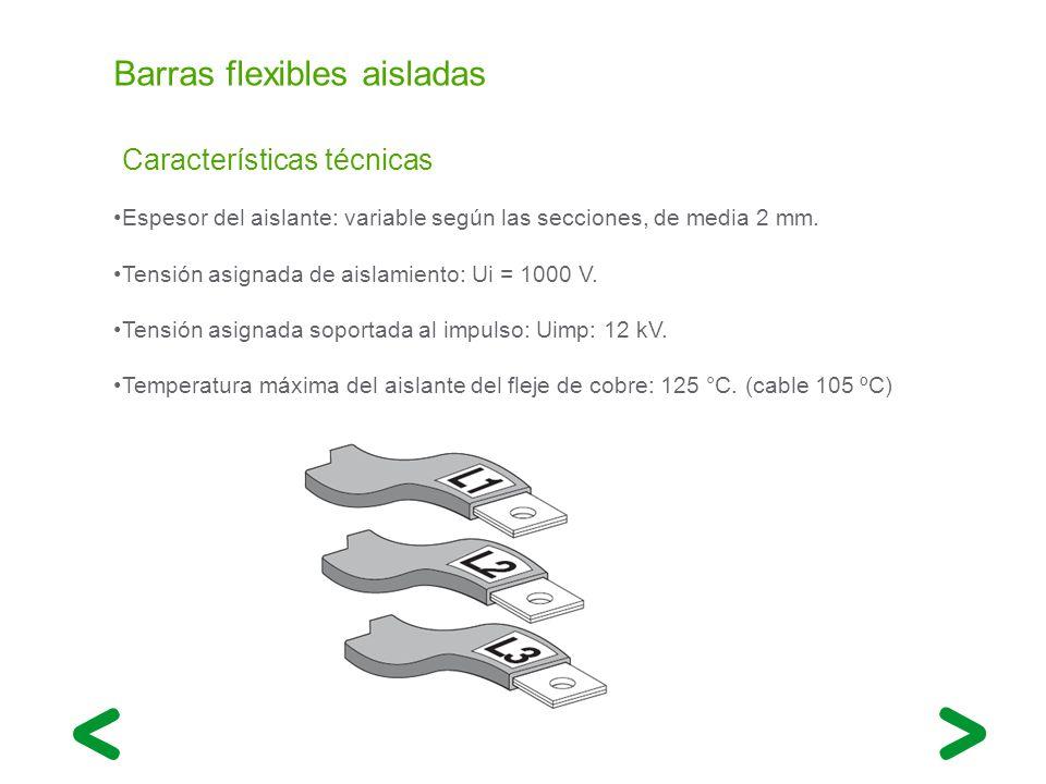 Barras flexibles aisladas Espesor del aislante: variable según las secciones, de media 2 mm. Tensión asignada de aislamiento: Ui = 1000 V. Tensión asi