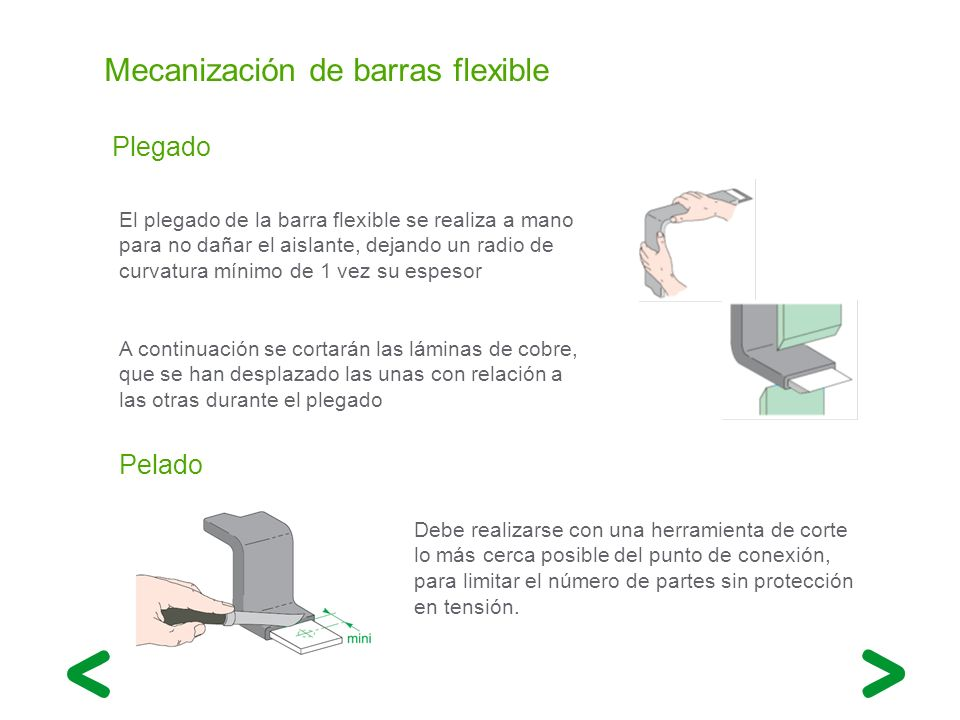 Mecanización de barras flexible Plegado El plegado de la barra flexible se realiza a mano para no dañar el aislante, dejando un radio de curvatura mín