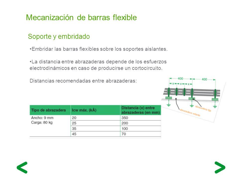 Mecanización de barras flexible Soporte y embridado Embridar las barras flexibles sobre los soportes aislantes. La distancia entre abrazaderas depende
