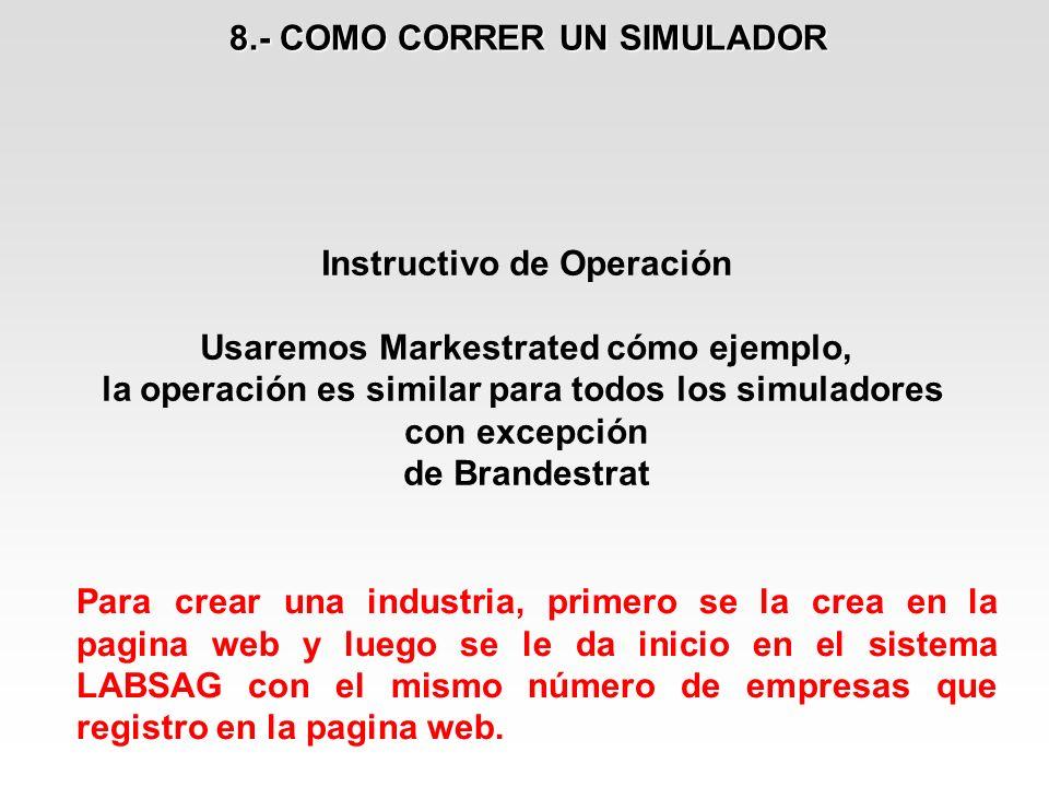 Instructivo de Operación Usaremos Markestrated cómo ejemplo, la operación es similar para todos los simuladores con excepción de Brandestrat 8.- COMO