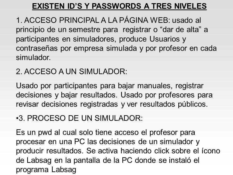 ¿cuáles son los IDS Y PASSWORDS.1. ACCESO AL PORTAL: ID: Password: 2.