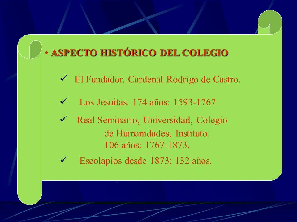 ASPECTO HISTÓRICO DEL COLEGIO El Fundador. Cardenal Rodrigo de Castro. Los Jesuitas. 174 años: 1593-1767. Real Seminario, Universidad, Colegio de Huma