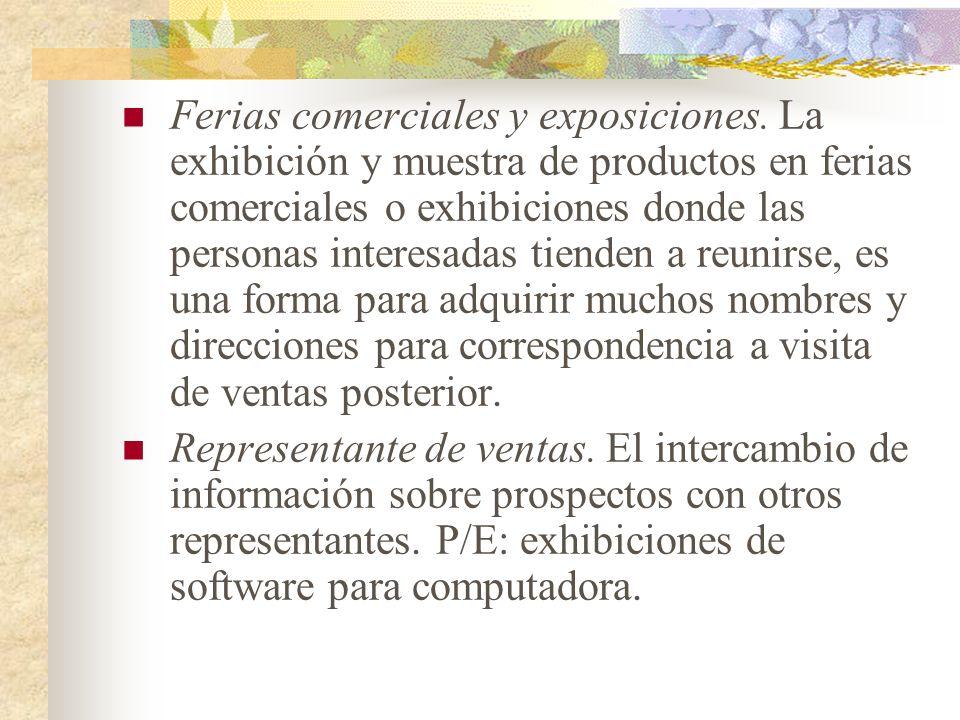 Ferias comerciales y exposiciones. La exhibición y muestra de productos en ferias comerciales o exhibiciones donde las personas interesadas tienden a