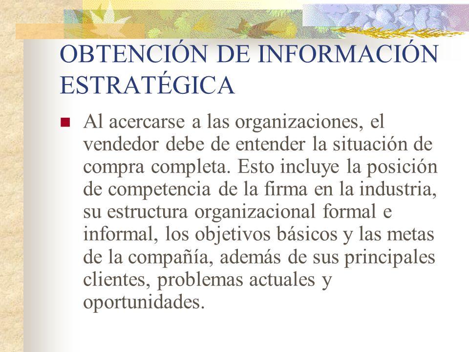 Al acercarse a las organizaciones, el vendedor debe de entender la situación de compra completa. Esto incluye la posición de competencia de la firma e