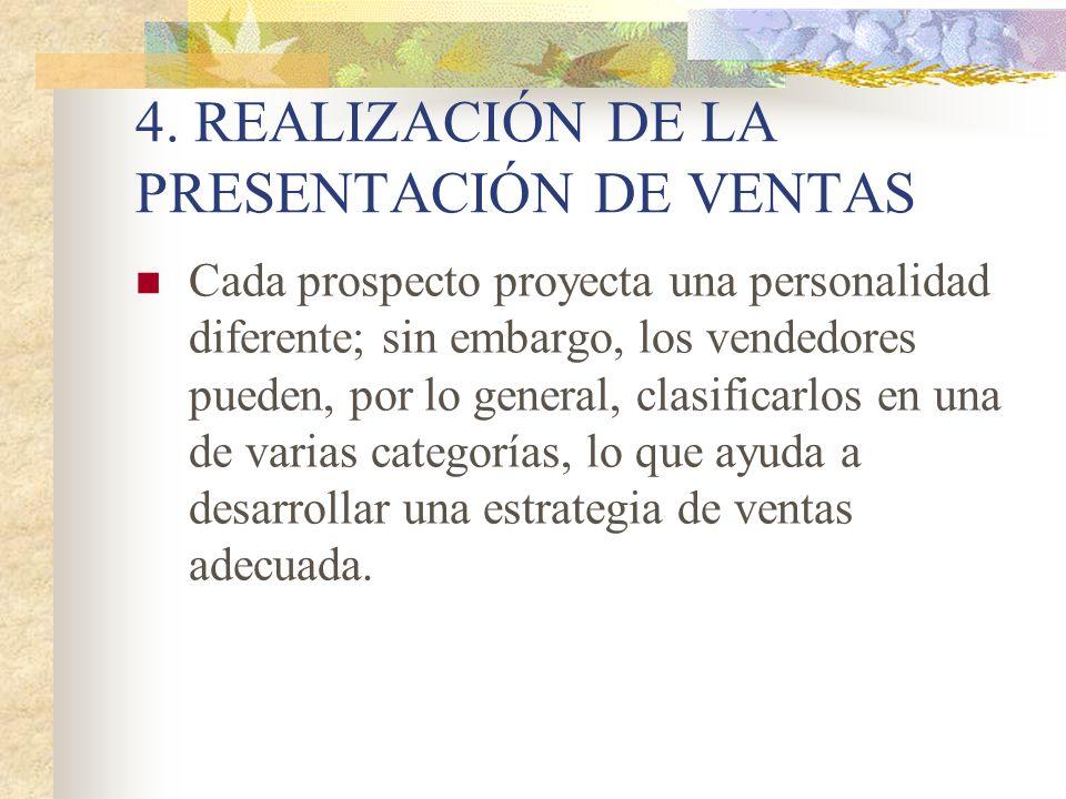 4. REALIZACIÓN DE LA PRESENTACIÓN DE VENTAS Cada prospecto proyecta una personalidad diferente; sin embargo, los vendedores pueden, por lo general, cl