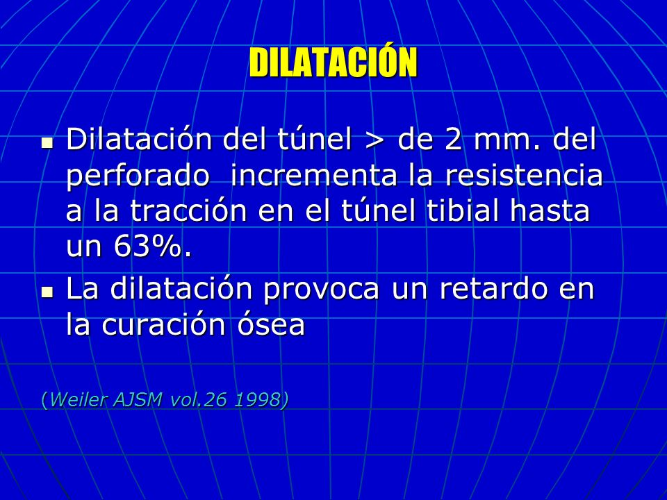 DILATACIÓN Dilatación del túnel > de 2 mm. del perforado incrementa la resistencia a la tracción en el túnel tibial hasta un 63%. Dilatación del túnel
