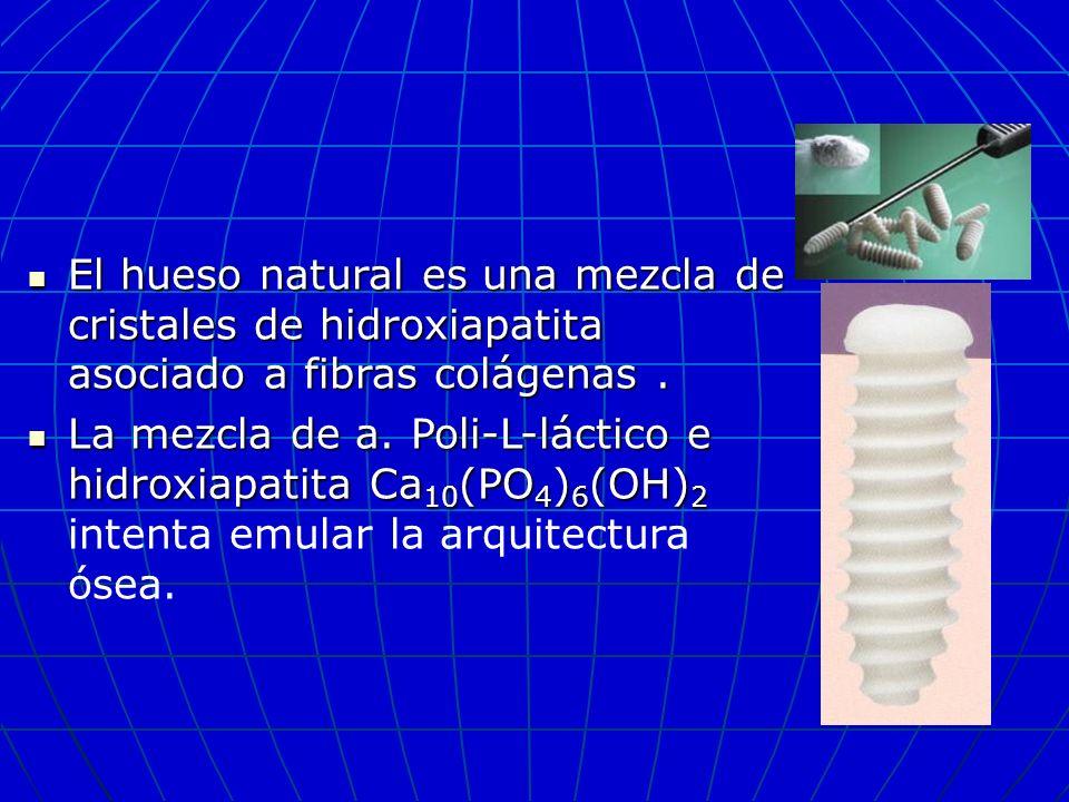 El hueso natural es una mezcla de cristales de hidroxiapatita asociado a fibras colágenas. El hueso natural es una mezcla de cristales de hidroxiapati