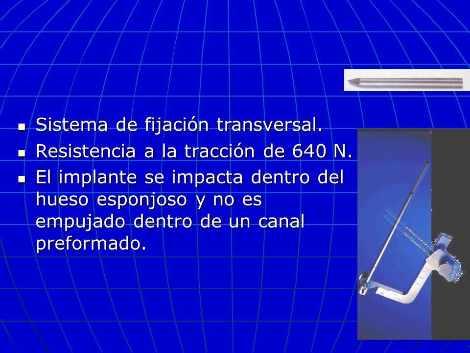 Sistema de fijación transversal. Sistema de fijación transversal. Resistencia a la tracción de 640 N. Resistencia a la tracción de 640 N. El implante