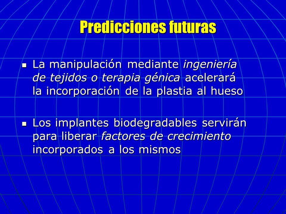 Predicciones futuras Predicciones futuras La manipulación mediante ingeniería de tejidos o terapia génica acelerará la incorporación de la plastia al