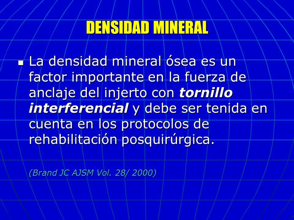 DENSIDAD MINERAL La densidad mineral ósea es un factor importante en la fuerza de anclaje del injerto con tornillo interferencial y debe ser tenida en