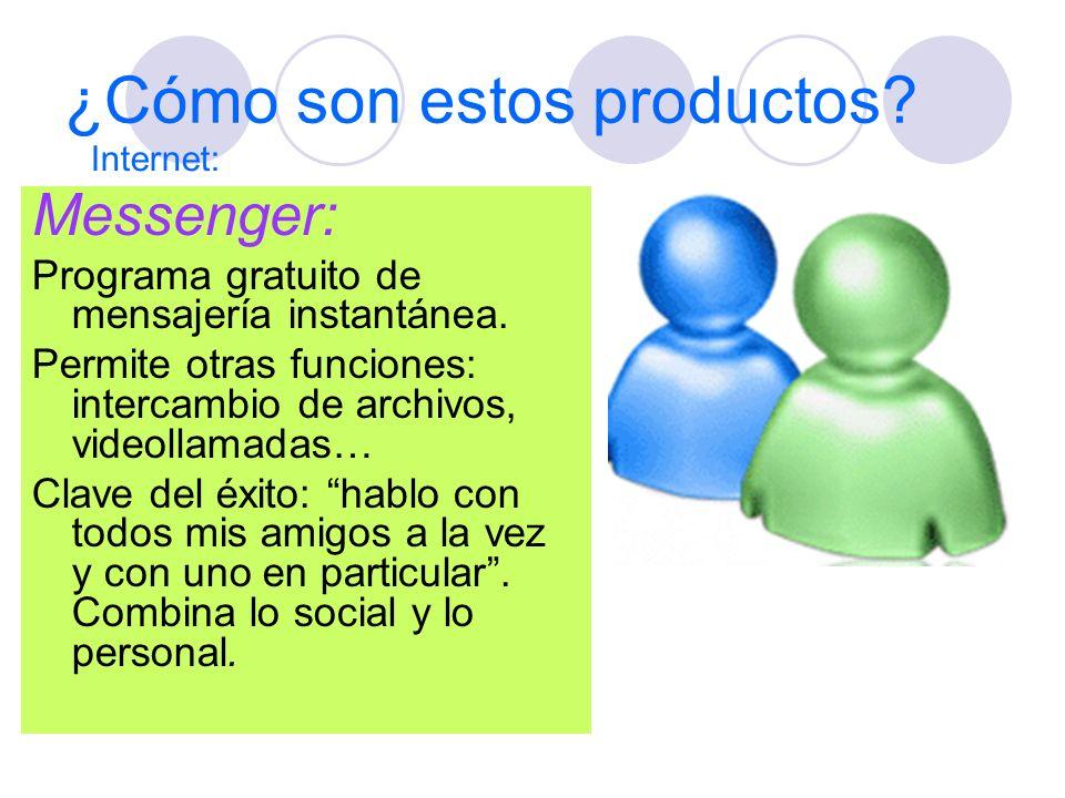 ¿Cómo son estos productos? Messenger: Programa gratuito de mensajería instantánea. Permite otras funciones: intercambio de archivos, videollamadas… Cl